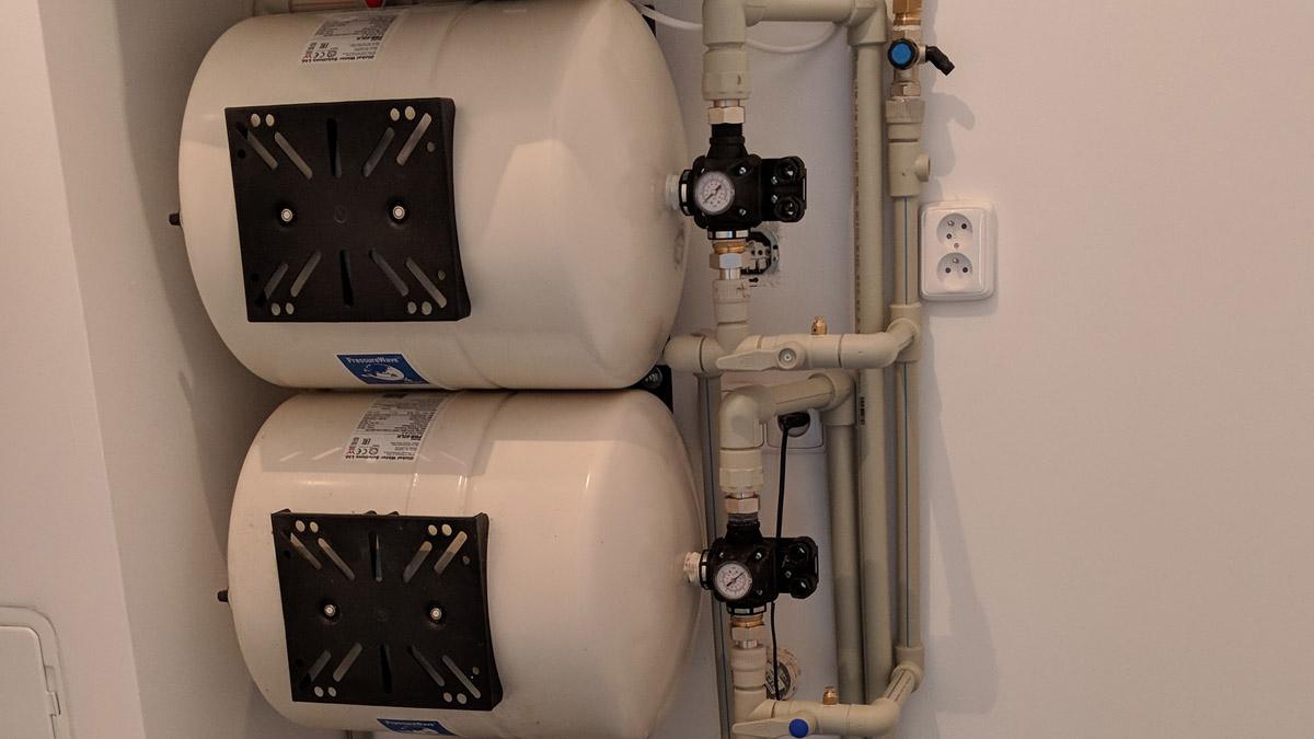 Finalizace rozvodů vody v technické místnosti