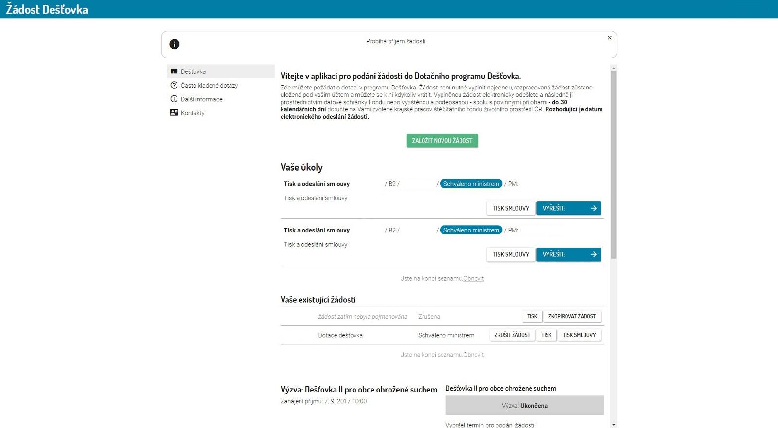 Webové rozhraní programu Dešťovka