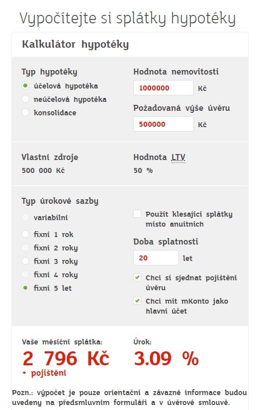 Hypoteční kalkulačka mBank
