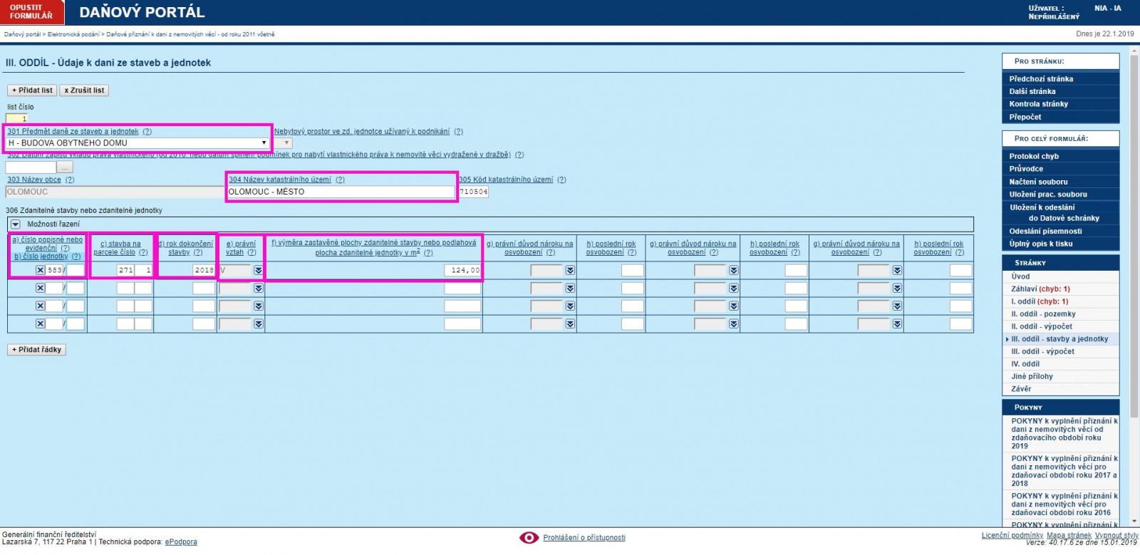 Vzor vyplnění elektronického daňového přiznání k dani z nemovitých věcí