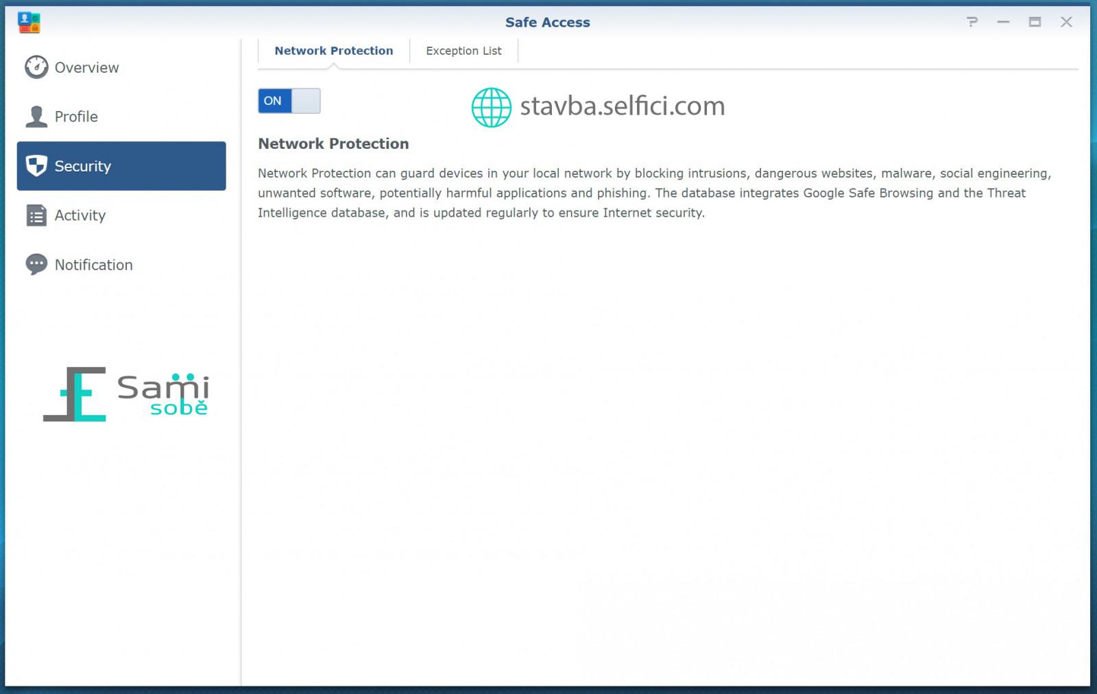 Ochrana před škodlivými weby v Safe Access