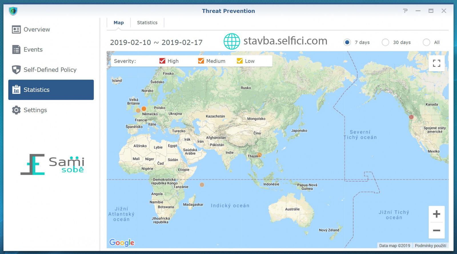 Mapa bezpečnostních incidentů v Threat Prevention