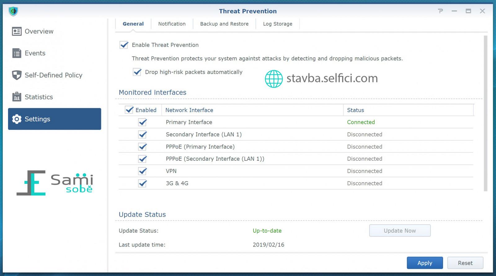 Nastavení Threat Prevention v Synology RT2600ac
