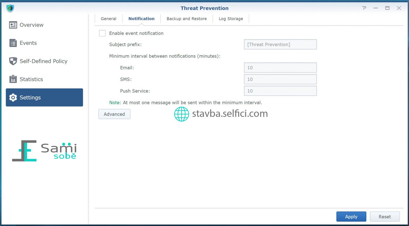 Nastavení notifikací v Threat Prevention