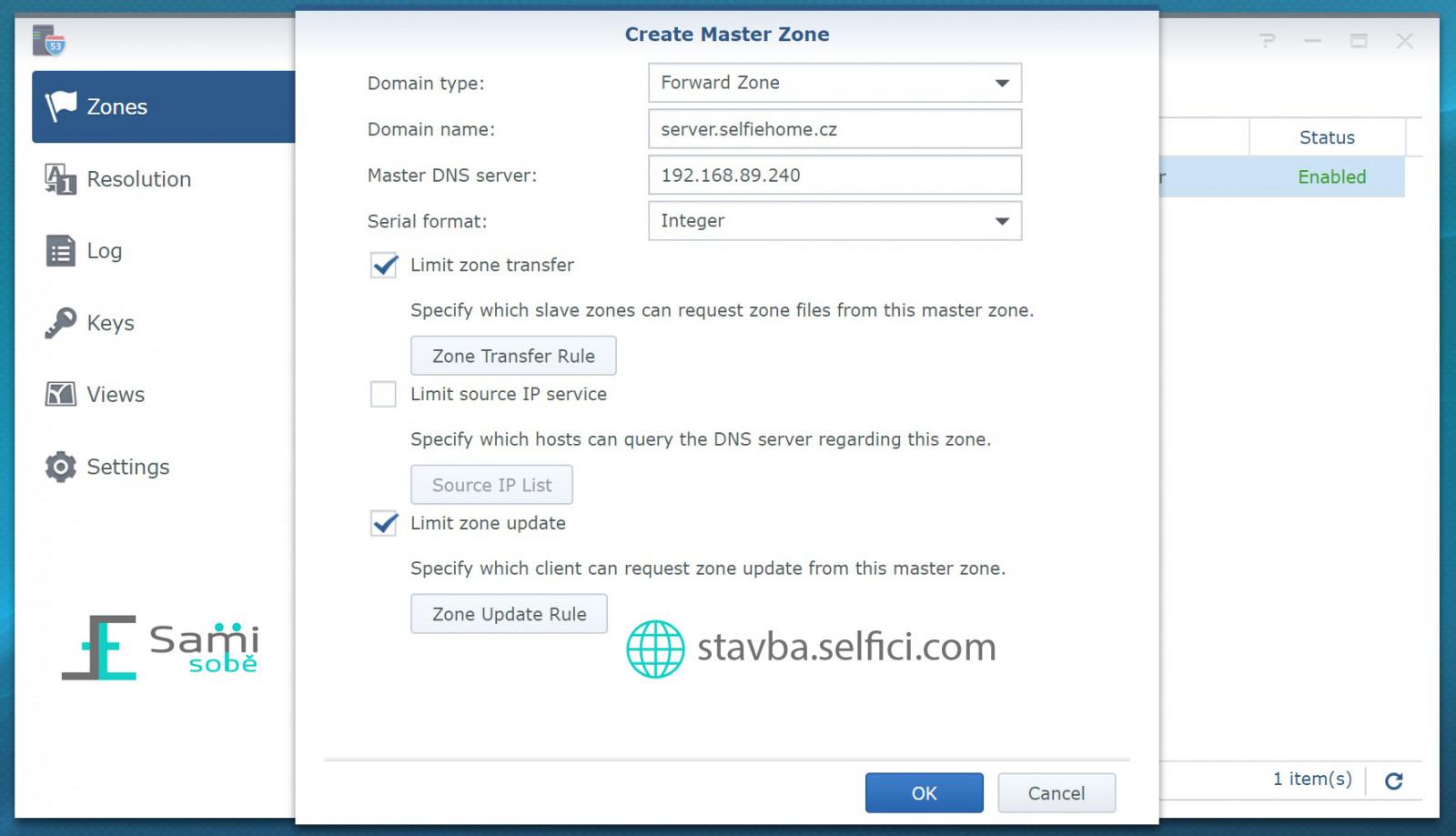 Přidání nové Master Zone do Synology RT2600ac