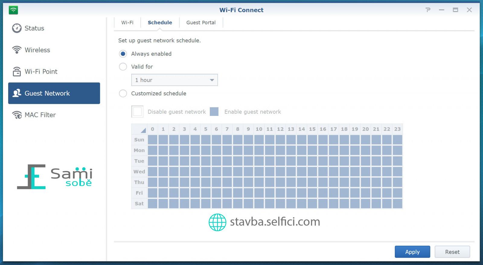 Plánování WiFi pro hosty na Synology RT2600ac