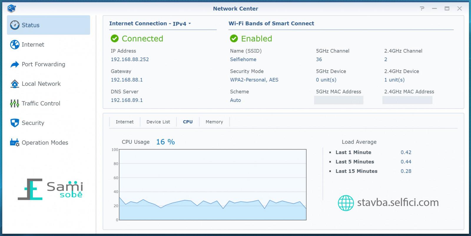 Stav síťového připojení na Synology RT2600ac