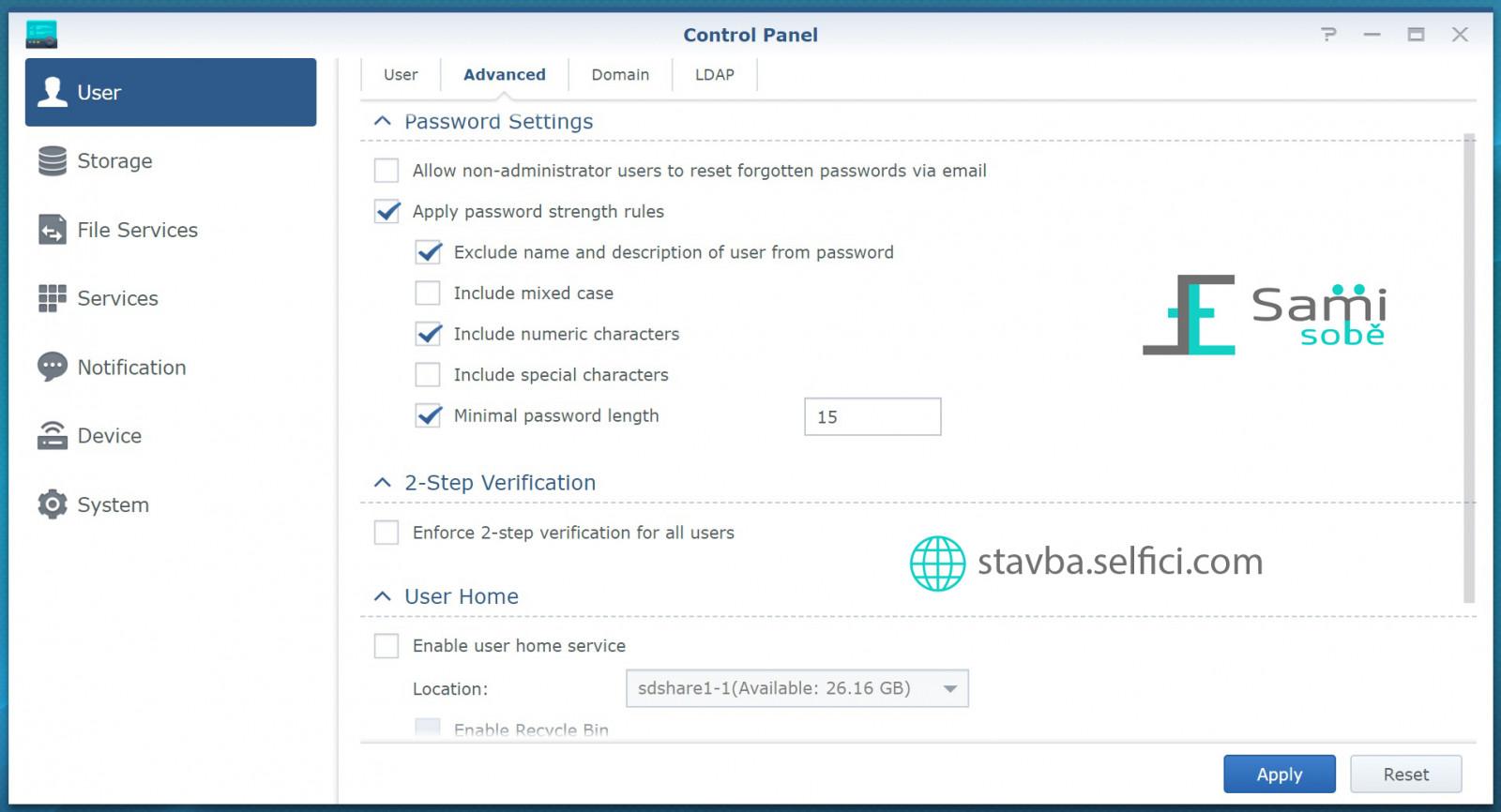 Správa uživatelských účtů v Synology RT2600ac